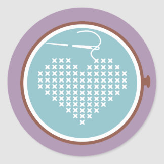 Cross stitch embroidery hoop heart needle thread classic round sticker