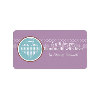 Cross stitch embroidery hoop heart needle thread label