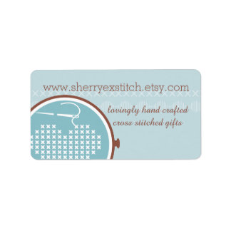 Cross stitch embroidery hoop heart needle thread address label
