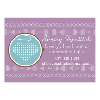 Cross stitch embroidery hoop heart needle thread large business card
