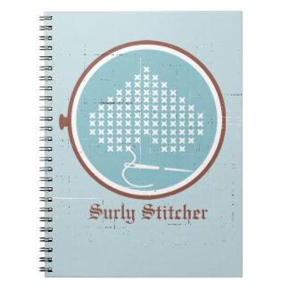 Cross stitch embroidery hoop heart needle thread spiral notebook