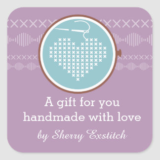 Cross stitch embroidery hoop heart needle thread square sticker