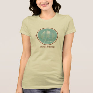 Cross stitch embroidery hoop heart needle thread T-Shirt