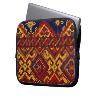 Cross Stitch Embroidery Zippered Neoprene Case Computer Sleeve