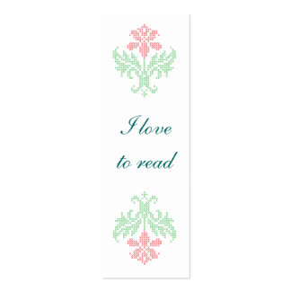 Cross stitch floral pattern bookmark Double-Sided mini business cards (Pack of 20)