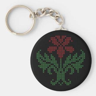 Cross stitch floral pattern key chain