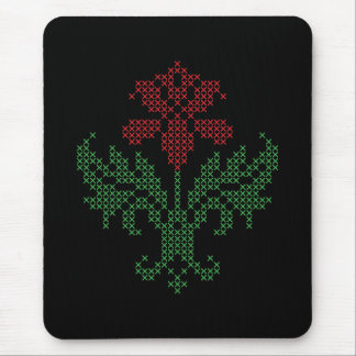 Cross stitch floral pattern mouse pad