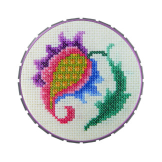 Cross stitch hand embroidered bright flower candy tin