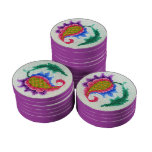 Cross stitch hand embroidered bright flower poker chips set