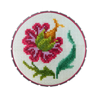 Cross stitch hand embroidered bright red flower jelly belly tins