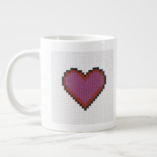 Cross Stitch Heart Giant Coffee Mug