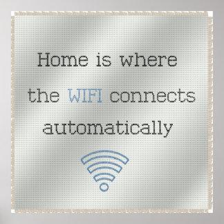 Cross Stitch Home WIFI Poster