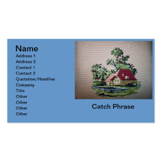 Cross Stitch Home with Pond Realty Card Business Card Templates