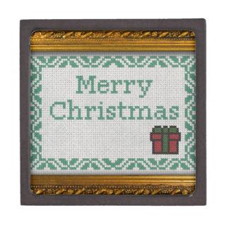 """Cross Stitch"" merry christmas Premium Keepsake Boxes"