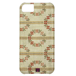Cross Stitch Needlework Floral Wreath Pattern Cover For iPhone 5C