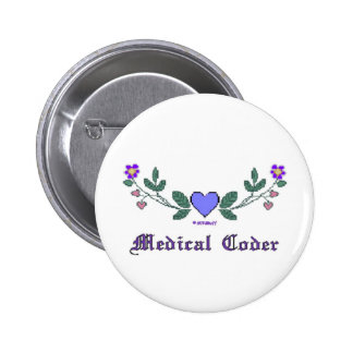Cross Stitch Print Medical Coder Pins
