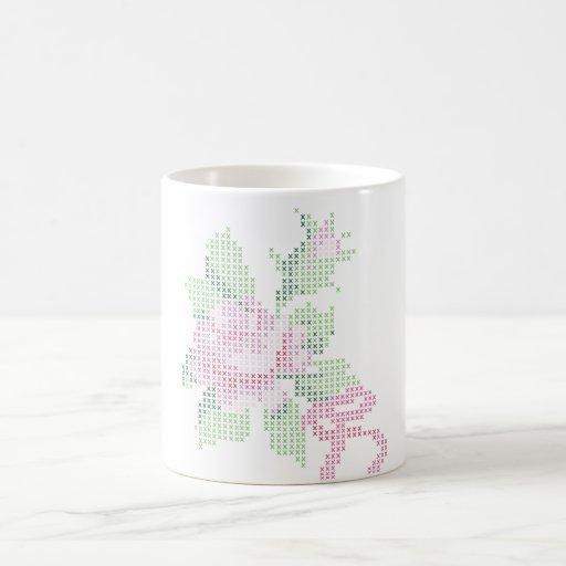 cross stitch rose mug