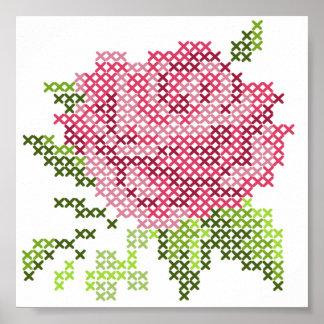 Cross Stitch Rose Print