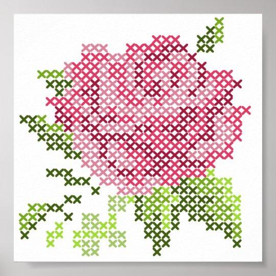 Cross Stitch Rose Poster | Zazzle.com