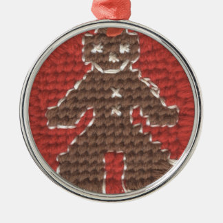 Cross Stitched Gingerbread Man by Julia Hanna Metal Ornament