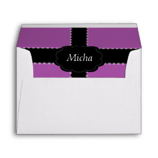 Cross Stitched Mauve Pink & Black Monogram Envelope