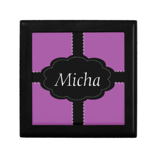 Cross Stitched Mauve Pink & Black Monogram Gift Box
