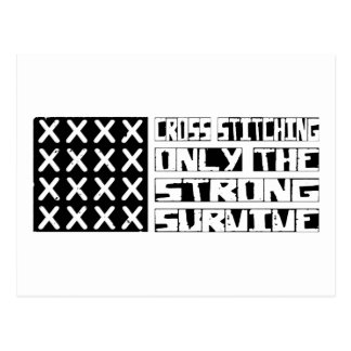 Cross-stitching Survive Postcard