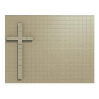 Cross symbol on wall postcard
