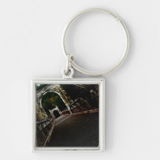 Cross the Crooked Bridge Silver-Colored Square Keychain