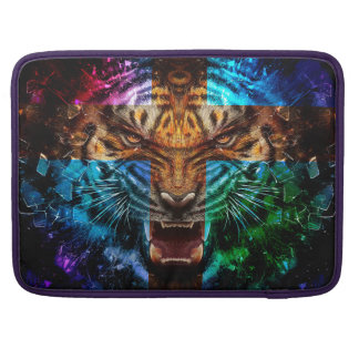 Cross tiger - angry tiger - tiger face - tiger wil MacBook pro sleeve