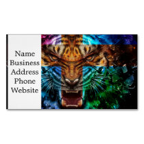 Cross tiger - angry tiger - tiger face - tiger wil magnetic business card