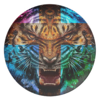 Cross tiger - angry tiger - tiger face - tiger wil melamine plate