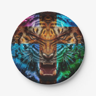 Cross tiger - angry tiger - tiger face - tiger wil paper plate