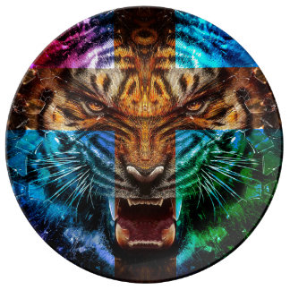 Cross tiger - angry tiger - tiger face - tiger wil porcelain plate