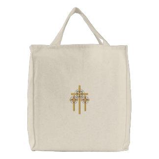 Cross Trio Embroidered Tote Bag