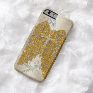 Cross w Glitter Diamond Jewel Look Angel Wings Barely There iPhone 6 Case