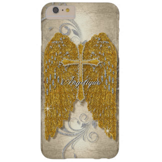 Cross w Glitter Diamond Jewel Look Angel Wings Barely There iPhone 6 Plus Case