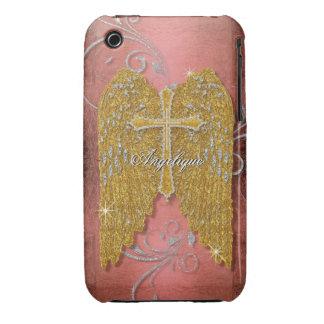 Cross w Glitter Diamond Jewel Look Angel Wings iPhone 3 Covers