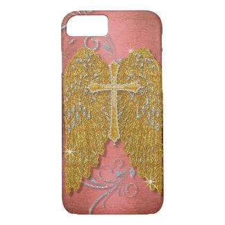 Cross w Glitter Diamond Jewel Look Angel Wings iPhone 7 Case
