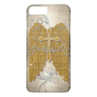Cross w Glitter Diamond Jewel Look Angel Wings iPhone 7 Plus Case