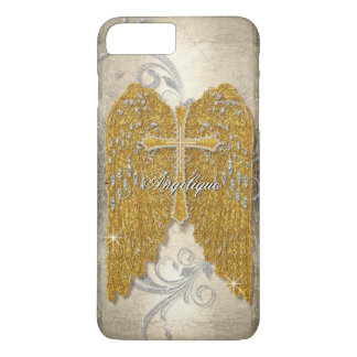 Cross w Glitter Diamond Jewel Look Angel Wings iPhone 8 Plus/7 Plus Case