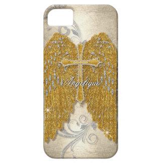 Cross w Glitter Diamond Jewel Look Angel Wings iPhone SE/5/5s Case