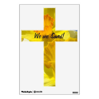 Cross wall decal Daffodils Easter We are Saved!
