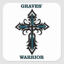Cross/Warrior...Graves' Square Sticker