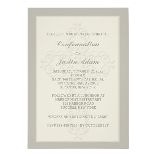 Cross Watermark Religious Invitation Zazzlecom