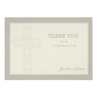 Cross Watermark Religious Thank You Notecard 5x7 Paper Invitation Card
