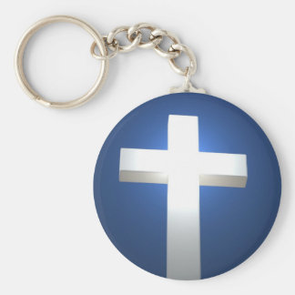 Cross, white and glowing! keychain