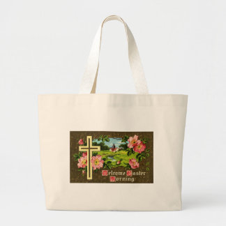 Cross, Wild Roses and Church Vintage Easter Canvas Bag