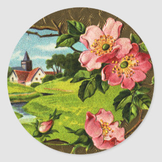 Cross, Wild Roses and Church Vintage Easter Classic Round Sticker