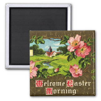 Cross, Wild Roses and Church Vintage Easter Magnet